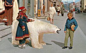 Polar bear street scene